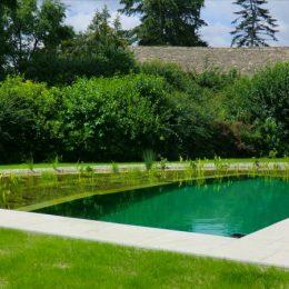 Schwimmteich mit grüner Folie