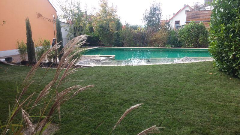 Seitliche Gesamtsicht des Schwimmteichs Bad Abbach, Niederbayern