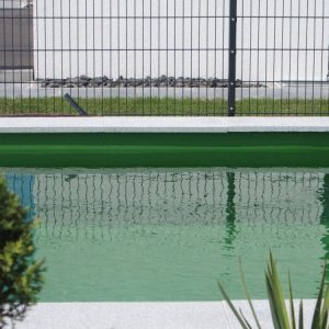 Zaunspiegelung im Schwimmteich