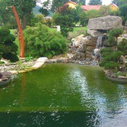 Teich mit Filterzone, japanischer Felslandschaft und kleinem Wasserfall